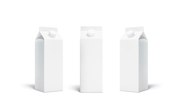 Blank white rex juice or milk pack lid mockup set