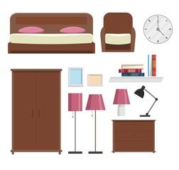 Big set of Bedroom interior vector illustration modern elements furniture flat