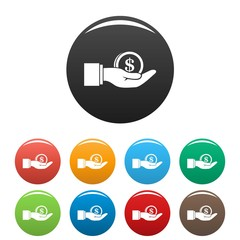 Bribery money coin icons set 9 color vector isolated on white for any design