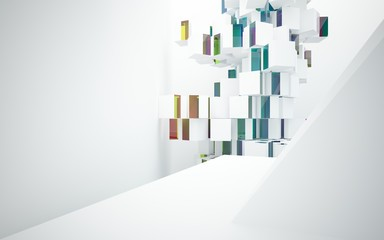 Abstract white interior with colored gradient glossy lines. 3D illustration and rendering