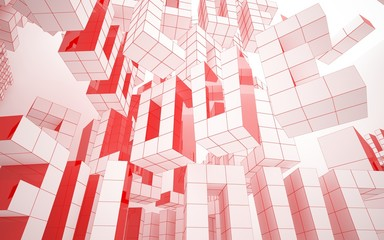 """Abstract white interior highlights future with statue of  word """"love"""" and glossy lines. Polygon colored drawing. Architectural background. 3D illustration and rendering"""