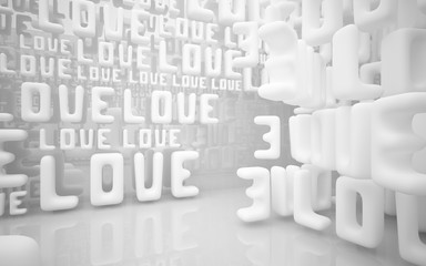 """Abstract smooth white interior of the future with statue of  word """"love"""". Architectural background. 3D illustration and rendering"""