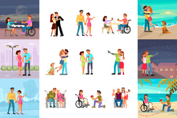 Big set of different types of romantic relationships of disabled people