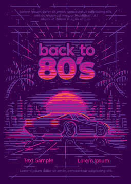 Back to 80's card/poster/flyer template. Retro neon synthwave style. Vector. Layered.