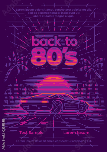 Back to 80's card/poster/flyer template  Retro neon