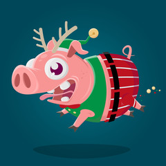 funny cartoon illustration of a crazy pig in christmas elf costume