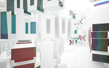 "Abstract white interior with statue of  word ""love"" and colored gradient glossy lines. 3D illustration and rendering"