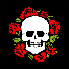 Skull and flowers. Skeleton head and roses. Death and love