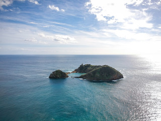 Aerial view of the Islet of Vila Franca do Campo. San Miguel island, Azores, Portugal.