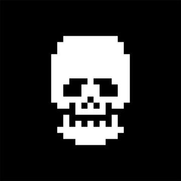 Skull pixel art. Bones anatomy 8 bit. Pixelate Human Skeleton system 16bit. Old game computer graphics style