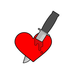 Knife in heart Isolated. Kill love symbol. Vector illustration