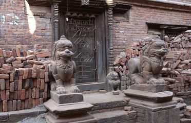 Ancient temple in Bhaktapur after the earthquake damage in Kathmandu valley, Nepal