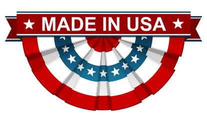 Made in USA on bunting american flag