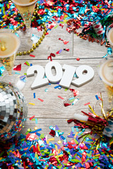 NYE2019: New Year's Champagne Confetti Party Background