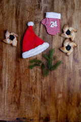 Christmas ornament flat lay. Christmas background