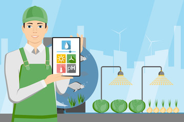 Farmer with digital tablet. Growing plants in the greenhouse with aquaponics system. Vector illustration.