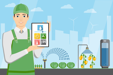 Farmer with tablet in a modern greenhouse. Internet of things in agriculture. Smart farm with wireless control. Vector illustration.