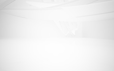 Abstract smooth white interior of the future. Architectural background. 3D illustration and rendering