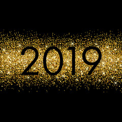 New Year poster with gold glitter background.  Shine template design for posters, banners, flyer, invitation or web. Vector illustration