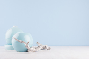 Minimalistic home decor in trendy pastel light blue color - ceramic sphere vases and old branch on white wood background.