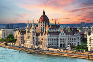 Foto op Canvas Boedapest Beautiful building of Parliament in Budapest, popular travel destination