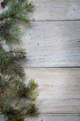 Christmas background on a wooden