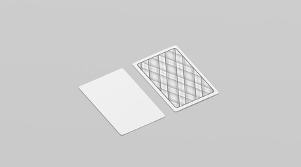 Blank white playing cards mock up, isolated