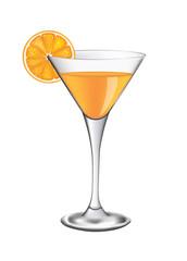 Orange cocktail glass, vector illustration
