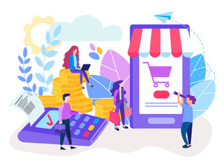 Nfc technology, mobile app, online shopping and payment terminal POS. Сontactless payment. Vector illustration for social media, banners, posters