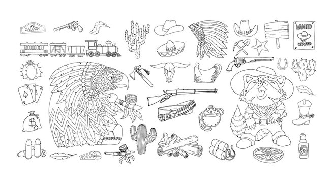 Wild West elements icons set. Ink and pen drawing. Attributes American Frontier