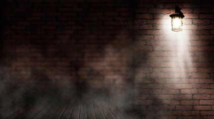 Background of an empty old brick wall. Lantern on the building, night, neon, spotlight, smoke