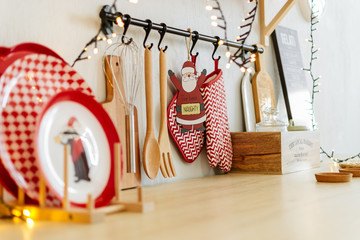 Christmas decor. table with kitchen utensils. new year 2019