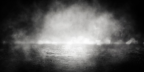 Background of empty room, street, neon light, bokeh, smoke, fog, asphalt, concrete floor Wall mural