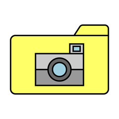 Flat Pictures Folder Icon. Vector