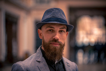 fashion man with a beard in a hat