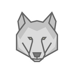 Stylized geometric wolf head illustration. Vector icon tribal design