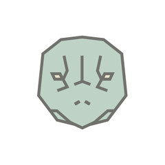 Stylized geometric turtle head illustration. Vector icon tribal tortoise design