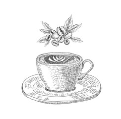 Cup with a coffee drink on the white background and ribbon.