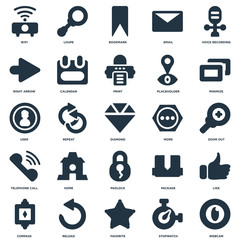 Elements Such As Webcam, Zoom out, Minimize, Loupe, Compass, Calendar, Package, User icon vector illustration on white background. Universal 25 icons set.