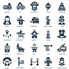 Elements Such As Statue of liberty, Hat, Rapper, Cab, Sticker, Conference, Flag, Placeholder icon vector illustration on white background. Universal 25 icons set.