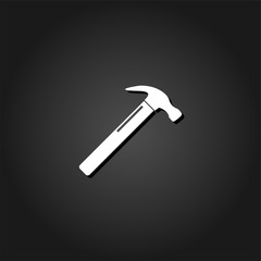 Claw hammer icon flat. Simple White pictogram on black background with shadow. Vector illustration symbol