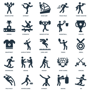 Elements Such As Ski, Boxing, Gymnast, Winter Games, Pole vault, Chalice, Tennis, Hockey, Snowboard, Podium, Wind Surf, Gymnast icon vector illustration on white background. Universal 25 icons set.