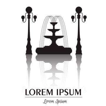 Vector illustration of classical fountain and lanterns isolated with place for your text. Vector template for business card and banner.