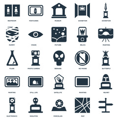 Elements Such As, Map, Porcelain, Skeleton, Electronics, Painting, No phone, Satellite, Mummy, Museum, Postcards icon vector illustration on white background. Universal 25 icons set.