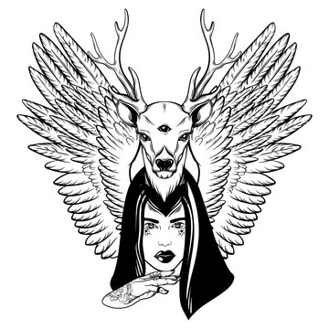 Vector hand drawn illustration of beautiful woman with hand, deer and wings. Surreal  tattoo artwork with portrait in Noir style. Template for card, poster, banner, print for t-shirt.