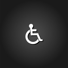 Disabled icon flat. Simple White pictogram on black background with shadow. Vector illustration symbol