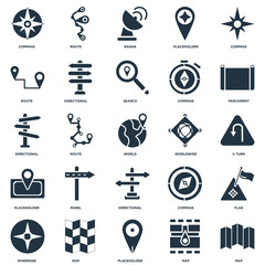 Elements Such As Map, Placeholder, Windrose, Parchment, Worldwide, Directional, Route, Radar, Route icon vector illustration on white background. Universal 25 icons set.