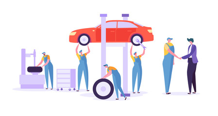 Car Repair Auto Service. Professional Mechanic Characters in Uniform Changing Tyres. Automobile technical maintenance concept. Vector illustration