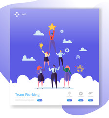 Teamwork Landing Page Template. Business People Characters Pyramid Working Together for Website or Web Page. Easy Edit and Customize. Vector illustration