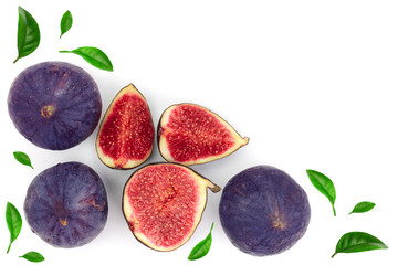 fig fruits with leaves isolated on white background with copy space for your text. Top view. Flat lay pattern